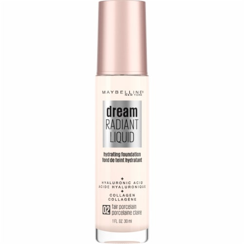 Maybelline Dream Radiant Liquid Medium Coverage 02 Fair Porcelain Hydrating Foundation Perspective: front