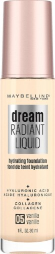 Maybelline Dream Radiant Liquid Medium Coverage 05 Vanilla Hydrating Foundation Perspective: front