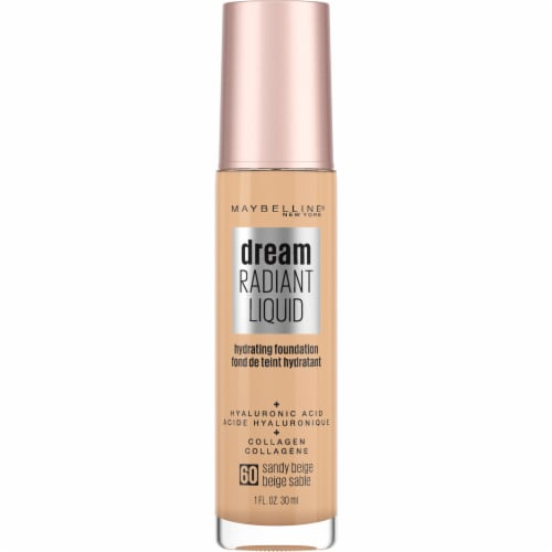 Maybelline Dream Radiant Liquid Medium Coverage 60 Sandy Beige Hydrating Foundation Perspective: front