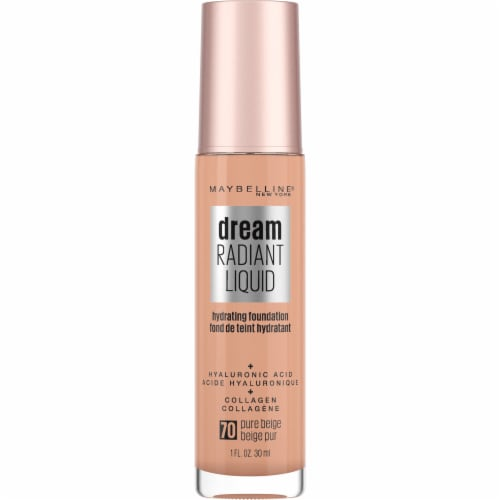Maybelline Dream Radiant Liquid Medium Coverage 70 Pure Beige Hydrating Foundation Perspective: front