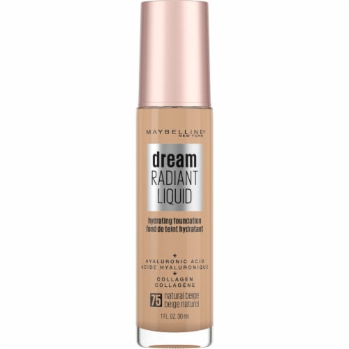 Maybelline Dream Radiant Liquid Medium Coverage 75 Natural Beige Hydrating Foundation Perspective: front