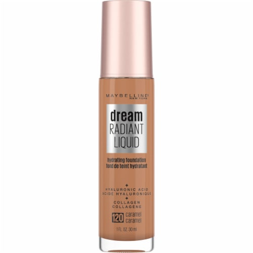 Maybelline Dream Radiant Liquid Medium Coverage 120 Caramel Hydrating Foundation Perspective: front