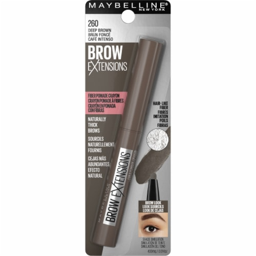 Maybelline Brow Extensions Fiber Pomade 260 Deep Brown Crayon Eyebrow Perspective: front