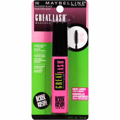 Maybelline Great Lash 100 Blackest Black Washable Mascara Perspective: front
