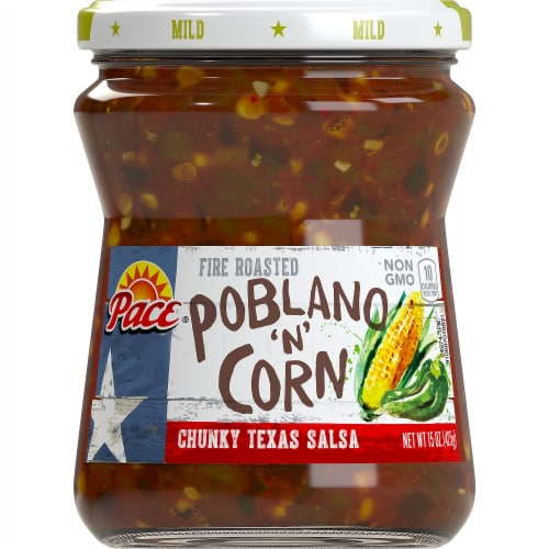 Pace Fire Roasted Poblano 'N' Corn Chunky Texas Salsa Perspective: front