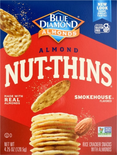 Blue Diamond Smokehouse Nut-Thins Cracker Snacks Perspective: front