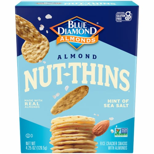 Blue Diamond Sea Salt Almond Nut-Thins Crackers Perspective: front
