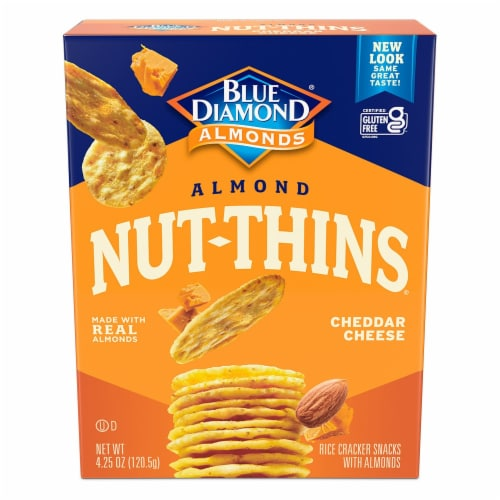 Blue Diamond Cheddar Cheese Almond Nut-Thins Crackers Perspective: front