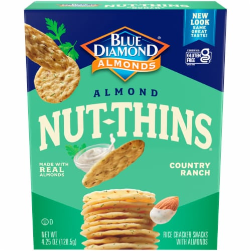 Blue Diamond Country Ranch Almond Nut-Thins Cracker Snacks Perspective: front