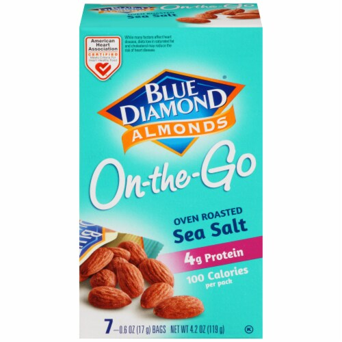 Blue Diamond Oven Roast Sea Salt Almonds On-the-Go Packs Perspective: front