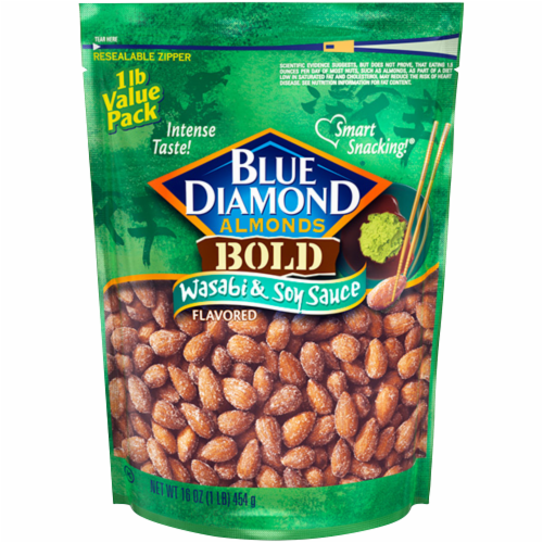 Blue Diamond Bold Wasabi & Soy Sauce Almonds Perspective: front