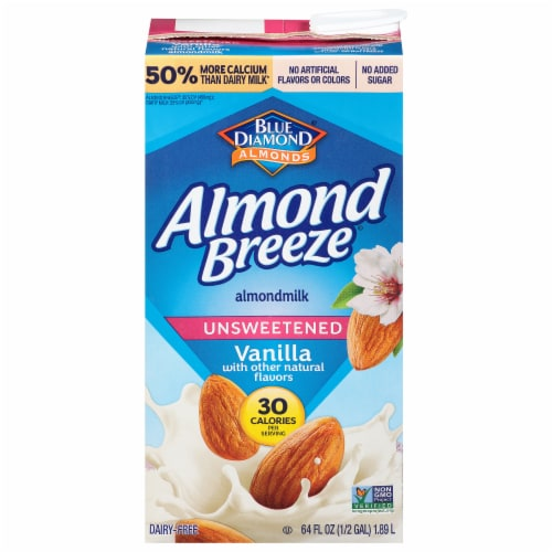 Blue Diamond Almond Breeze Vanilla Unsweetened Milk Perspective: front