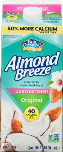 Blue Diamond Almond Breeze Unsweetened Original Almondmilk Coconutmilk Blend Perspective: front