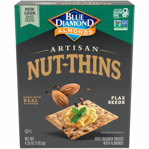 Blue Diamond Almonds with Flax Seeds  Artisan Nut-Thins Cracker Snacks Perspective: front