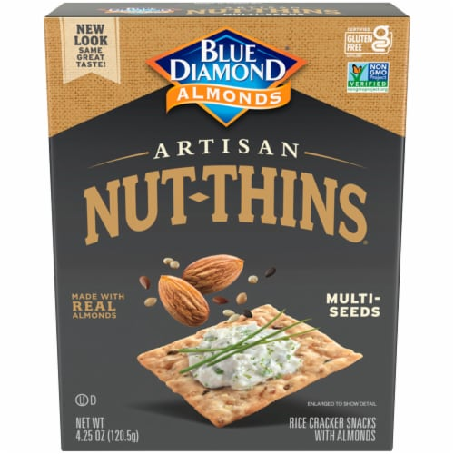 Blue Diamond Almonds  with Multi-Seeds Artisan Nut-Thins Cracker Snacks Perspective: front