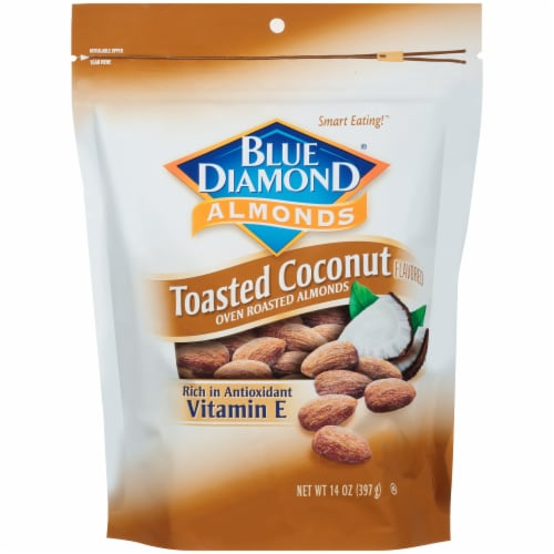 Blue Diamond Toasted Coconut Flavored Oven Roasted Almonds Perspective: front