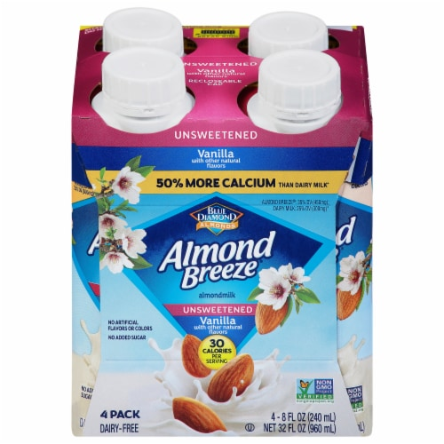 Blue Diamond Almond Breeze Unsweetened Vanilla Almondmilk Perspective: front