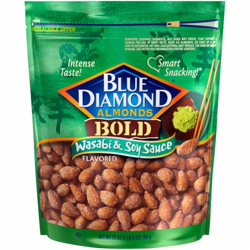 Blue Diamond Bold Wasabi & Soy Sauce Flavored Almonds Perspective: front