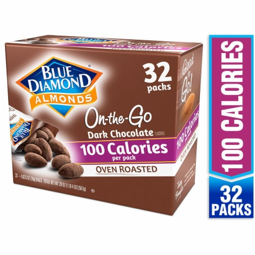 Blue Diamond On-the-Go Oven Roasted Dark Chocolate 100 Calorie Almond Packs Perspective: front