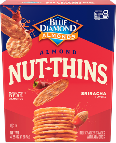 Blue Diamond Almond Nut-Thins Sriracha Rice Cracker Snacks Perspective: front
