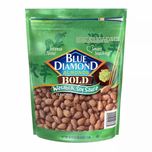 Blue Diamond Wasabi and Soy Sauce Almonds (40 Ounce) Perspective: front