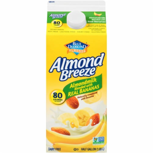 Blue Diamond Almond Breeze Almondmilk Blended with Real Bananas Perspective: front