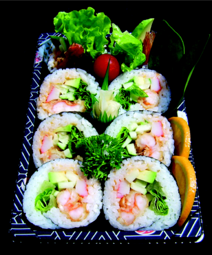 Spicy Shrimp Maki Sushi NOT AVAILABLE BEFORE 11:00 AM DAILY Perspective: front