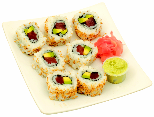 Tuna Roll Maki Avocado Sushi NOT AVAILABLE BEFORE 11:00 AM DAILY Perspective: front