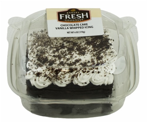 Bakery Fresh Goodness Chocolate Cake with Vanilla Whipped Icing Slice Perspective: front