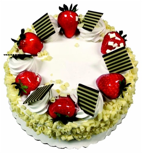 Tres Leche Double Layer Cake Topped with Fruit Perspective: front