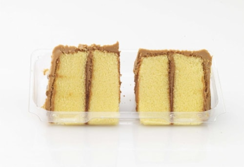 Dillons Bakery Caramel Iced Yellow Cake Slices Perspective: front