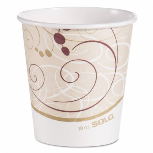 Paper Hot Cups In Symphony Design 10 OZ Beige/White/Red 1000 Per Each Carton | 1 Carton of: Perspective: front