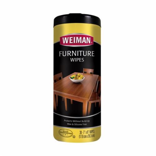 Weiman  Lemon Scent Wood Cleaner and Polish  30 pk Wipes - Case Of: 1; Each Pack Qty: 30; Perspective: front