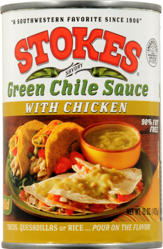 Stokes Green Chile Sauce with Chicken Perspective: front