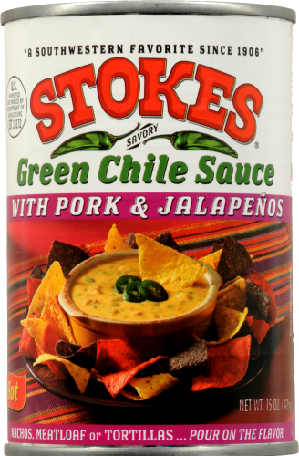 Stokes Green Chile Sauce with Pork & Jalapeno Perspective: front