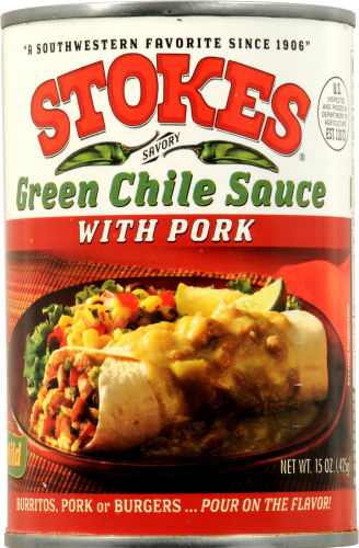 Stokes Green Chile Sauce with Pork Perspective: front