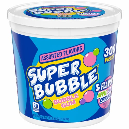 Super Bubble Apple Grape & Original Bubble Gum 300 Count Perspective: front