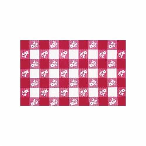 Creative Converting 60 Inch Round Red Gingham Plastic Table Cover - 12 Count Perspective: front