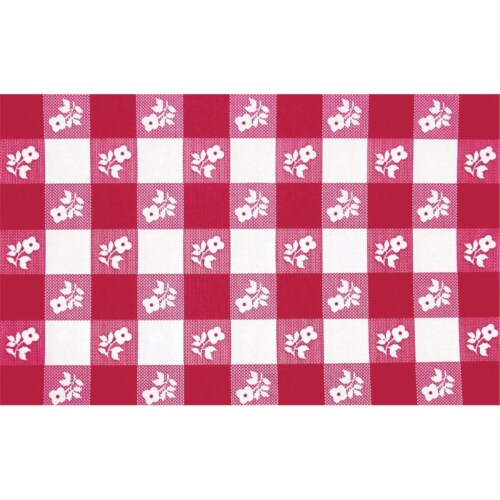 Creative Converting 30 x 96 Inch Red Gingham Plastic Stay Put Table Cover - 12 Count Perspective: front