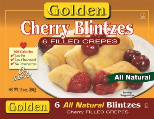 Golden Cherry Blintzes Filled Crepes Perspective: front