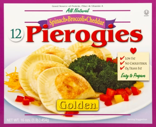 Golden Spinach Broccoli Cheddar Pierogies Perspective: front