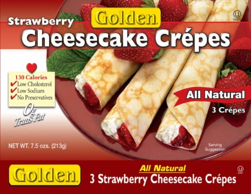 Golden Strawberry Cheese Crepes 3 Count Perspective: front