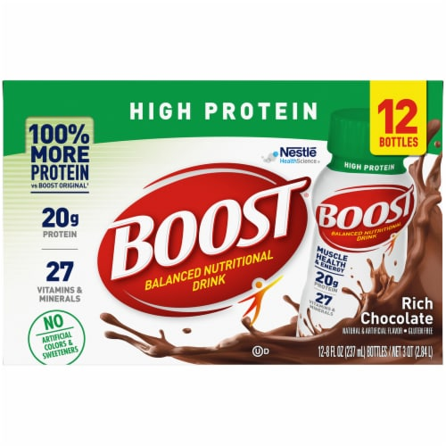 Boost High Protein Ready to Drink Rich Chocolate Nutritional Drink Perspective: front
