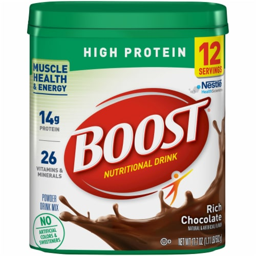 Boost High Protein Rich Chocolate Nutritional Powder Drink Mix Perspective: front