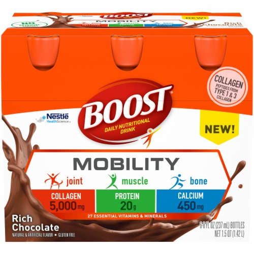 Boost Mobility Rich Chocolate Daily Nutritional Drink 6 Count Perspective: front