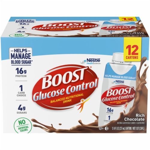 Boost Glucose Control Rich Chocolate Balanced Nutritional Drink Perspective: front