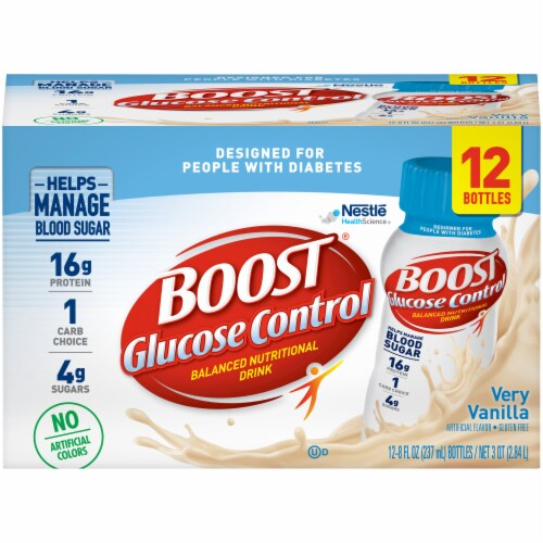 Boost Glucose Control Very Vanilla Balanced Nutritional Drink 12 Count Perspective: front