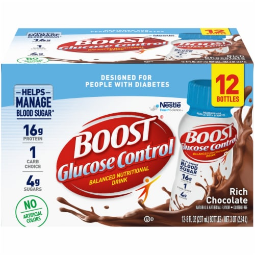 Boost Glucose Control Rich Chocolate Balanced Nutritional Drink 12 Count Perspective: front