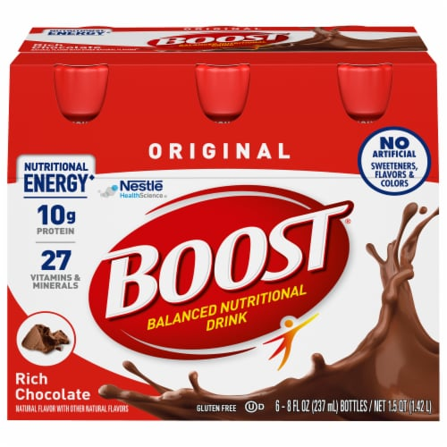 Boost Original Rich Chocolate Nutritional Drinks Perspective: front