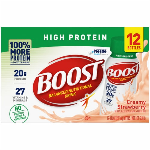 Boost High Protein Ready to Drink Creamy Strawberry Nutritional Drink Perspective: front